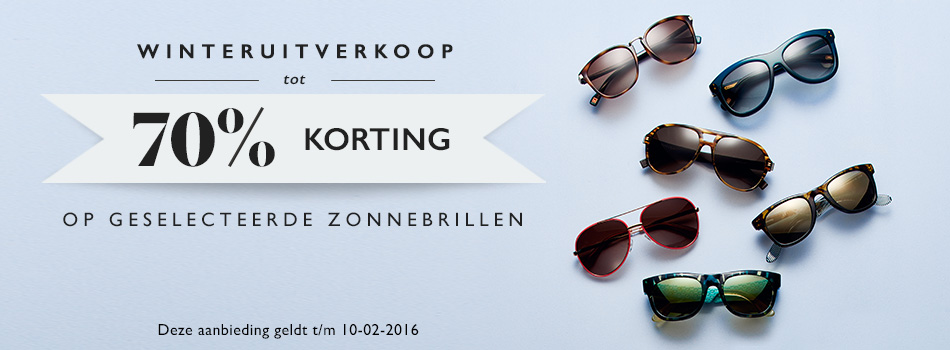 Winteruitverkoop tot 70% korting op geselecteerde zonnebrillen.